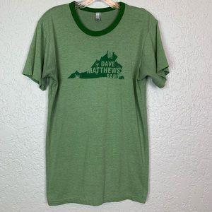 Dave Matthews Band t shirt green ringer men's M